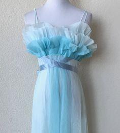 3cb3164e040 Vintage 60s Vanity Fair Blue 2-Tone Ruffle Top Nylon Chiffon Negligee  Nightgown Lingerie S 34