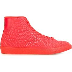 Nike Blazer DMB Sneakers (265 NZD) ❤ liked on Polyvore featuring shoes, sneakers, red, nike sneakers, leather lace up sneakers, lacing sneakers, lace up shoes and red flat shoes