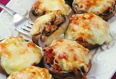 Mushrooms Stuffed in the Italian Meat Recipes, Vegetarian Recipes, Cooking Recipes, Italian Appetizers, Appetizer Recipes, Hungarian Recipes, Italian Recipes, Healthy Breakfast Potatoes, Food Porn