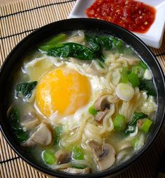 Chinese noodle soup.Delicious noodle soup with egg,mushrooms and onion.Very easy to cook!
