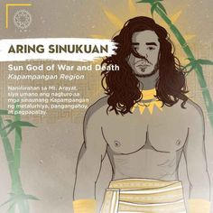 Aring Sinukuan lives in Mount Arayat. He was the one who taught the ancient kapampangan metallurgy, wood cutting/gathering, and rice cultivation. Filipino Words, Filipino Art, Filipino Culture, Filipino Tattoos, Philippine Mythology, Philippine Art, World Mythology, Greek Mythology, Mythological Creatures