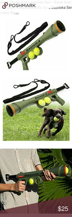 BazooK9 Tens Bl Lnchr Gn Ratd Bst Dg Ty w/2 balls BazooK-9 Tennis Ball Launcher Gun - Rated Best Dog Toy - Includes 2 Squeaky Balls for a Bazooka Semi Automatic Blast oxgord Other