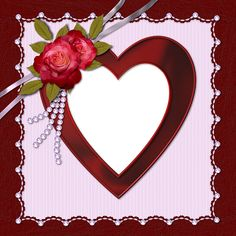 Heart Transparent Frame With Rose.