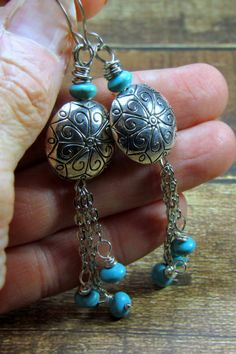 Cowgirl Bling  Silver Concho Beads with Turquoise Dangles