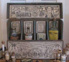Antieke houten toonbank display 'Dr. de Waltoff's - ca. 1900