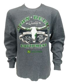 Charcoal John Deere  Equipment with Skull Thermal Shirt