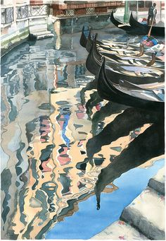 Watercolour Giclée print Venetian Gondolas with Venice reflected in water. £60.00, via Etsy.
