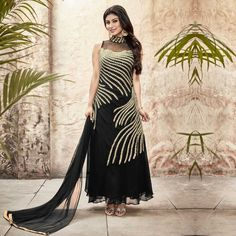 Buy Vibrant Black Anarkali - Online Women Ethnic Wear at Peachmode.com