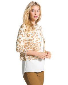 Cheetah Lace-Hem Charlee Cardigan