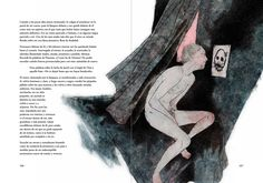 Pages 166-167, Demian, by Hermann Hesse. Ch. 6: Jacob Wrestling. Alianza Editorial, Madrid 2016. Illustrated by Bastian Kupfer.