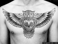 Owl Sugar Skull Tattoo On Chest
