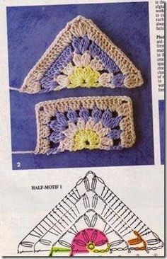 Transcendent Crochet a Solid Granny Square Ideas. Inconceivable Crochet a Solid Granny Square Ideas. Crochet Squares, Crochet Triangle, Crochet Motifs, Granny Square Crochet Pattern, Crochet Blocks, Crochet Diagram, Crochet Chart, Crochet Granny, Love Crochet