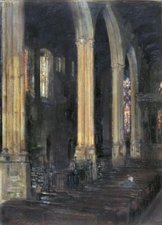 Arthur Paine Garratt (British, 1873-1955) St Helens Bishopsgate, London, 1908. Oil on Panel. n/d.