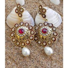 Maroon Color Antique Danglers With Polki kundan Pearl T9 - Online Shopping for Earrings by Tiara
