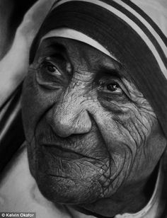 Mother Teresa portrait black and white , humanity inspiration art pencil drawing