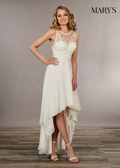 Discover the best and unique wedding Dresses from Mary's bridal collection. Choose your dream bridal wedding dresses from the wide variety of styles, fabrics, necklines, silhouettes and many more. Mary's Bridal, Bridal Wedding Dresses, Hi Low Wedding Dress, Semi Formal Wedding Dresses, Short Beach Wedding Dresses, Formal Wear, Short Country Wedding Dress, Diy Wedding, Bridal Pics