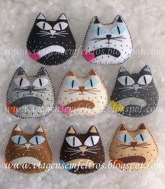 Little felt cats! Cat Crafts, Sewing Crafts, Sewing Projects, Craft Projects, Felt Gifts, Felt Embroidery, Felt Cat, Cat Doll, Felt Christmas Ornaments