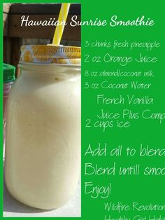 Juice Plus Hawaiian Sunrise Smoothie, using French Vanilla Complete. - Juice plus + - Juice Plus Shakes, Weight Loss Smoothies, Healthy Smoothies, Smoothie Recipes, Green Smoothies, Protein Shakes, Juice Plus Complete, Juice Plus+, Fruit Juice