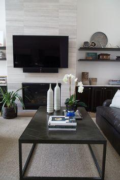 living room remodel; coffee table; decor; television; shelving  Interior Designer: Carla Aston / Photographer: Tori Aston