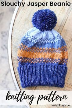 Fair isle knit hat with a fold-over ribbed brim and some easy colourwork, perfect for a beginner knitter!