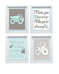 I'll Love You Forever Wall Art 3D Construction Wall Decor Nursery Decor Quote Set of 4- 8x10 Print Boy room decor Baby Blue Gray Decor