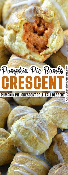 Pumpkin Pie Bombs are delicious dessert for fall, and also a great snack or even breakfast since they are made with crescent rolls. #pumpkin #pie #crescent #rolls #fall #dessert Fall Dessert Recipes, Desert Recipes, Fall Recipes, Just Desserts, Holiday Recipes, Easy Fall Desserts, Homemade Desserts, Thanksgiving Desserts, Christmas Desserts