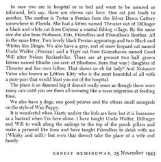 Hemingway was the ultimate crazy cat lady. (via Letters of Note.)