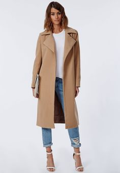 $140, Camel Coat: Missguided Khloe Oversized Premium Waterfall Coat Camel. Sold by Missguided. Click for more info: https://lookastic.com/women/shop_items/120538/redirect