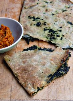 Spinach Bolani by chowvegan: Bolani is a traditional Afghani thin flatbread stuffed with either spinach, potato, lentil or pumpkin and baked. Even though it's low-fat, low-cal and low-carb, it's very tasty as well as filling. One serving of the spinach bolani is just 103 calories. #Bolani