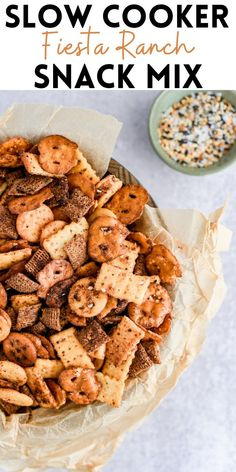 Football and the holiday season call for easy snacks that everyone will adore, and this Slow Cooker Fiesta Ranch Snack Mix is just that.