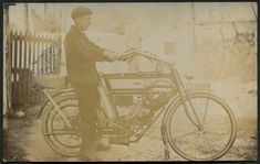 c.1904 Humber motorcycle belonging to Tom Saunders, Fore Street, Pool, Nov 1911-Mar 1912  Real photographic - publisher not stated (not numbered)