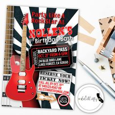 Rock and Roll / Rock Star / Concert Ticket / Music Festival Birthday Party Invitation by socalcrafty. Printed or Printable. $16+
