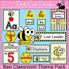 Bee Classroom Decor Pack – Labels, Jobs, Binders, Word Wal