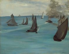 Steamboat Leaving Boulogne - Edouard Manet, 1864. The Art Institute of Chicago, Potter Palmer Collection, 1922.425 #manet. This is one of Édouard Manet's earliest paintings of the sea, a subject to which he returned repeatedly. It is one of three or four works that he painted in Paris from sketches made on a vacation with his family in the northern port of Boulogne-sur-Mer.