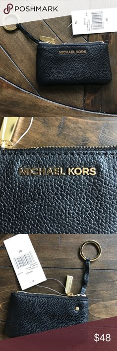 NWT Black Leather Michael Kors Small Key Pouch Small Black Leather Michael Kors Key Pouch! NEW WITH TAGS!!! Large enough to fit change or a few credit cards! Michael Kors Accessories Key & Card Holders