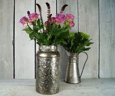New zinc vases and jug with a dinstinct Persian flavour. http://www.thesatchvillegiftcompany.co.uk/products/new-for-autumn-2015