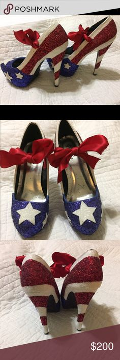 ‼️FLASH SALE‼️Handmade, American themed heels ‼️FLASH SALE‼️ WILL RETURN TO FIRM PRICE OF $200 AT 7:00PM CST‼️ These beautiful, one a kind, handmade USA themed heels will have everyone ask how they can get their hands on a pair! Qupid Shoes Heels