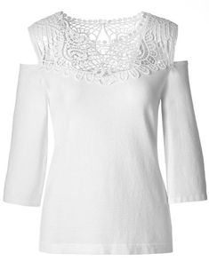 Beautiful crochet highlights your neckline while the wide sleeve, cold shoulder modernizes and adds that li Cold Shoulder Sweater, Beautiful Crochet, Neckline, Tunic Tops, Elegant, Sleeves, Sweaters, Women, Fashion