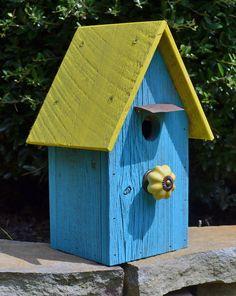 Rustic Birdhouse Primitive Birdhouse Recycled by ruraloriginals,