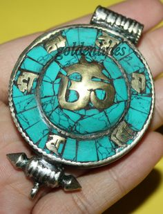 Turquoise Pendant nepal Pendant Tibet pendant yoga by goldenlines