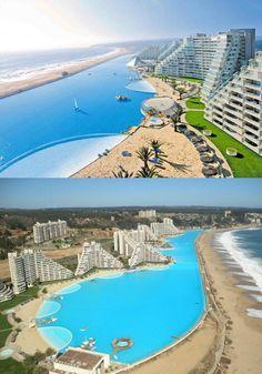 San Alfonso: Het grootste zwembad ter wereld. In het Alfonso Del Mar Resort in Chili kan je zwemmen in het grootste zwembad ter wereld. Het bad is ruim een kilometer lang en op sommige plekken zelfs 35 meter diep!
