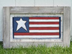Large Framed Handpainted Americana Wall Hanging by theprimplace on Etsy