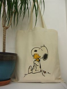 Snoopy and Woodstock Hugging Retro Natural Cotton Tote Bag by BYKI