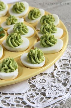 Pesto Stuff Eggs:::: ◾6 extra large eggs ◾3 tablespoons ricotta cheese ◾2 tablespoons pesto (I like to make mine from spinach if the basil is not great) ◾1 tablespoon lemon juice ◾sea salt to taste ◾freshly ground black pepper to taste ◾1 tablespoon extra virgin oiive oil (or more)