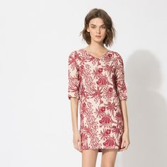 evaChic | This dress is one of the best from this season and retails for $375 before tax, so get it at evaChic for this great price. This embroidered dress has a V-neckline, a straight cut silhouette, and 3/4 length sleeves. http://www.evachic.com/product/maje-intricate-embroidered-a-line-dress/