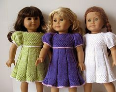 knitted American Girl 18 inch doll Pleated summer DRESS Knitting pattern (42)