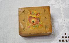 Vintage Wooden Box Baby Donkey Straw Hat Dovetail Corners Small Trinket Jewelry Box Panchosporch