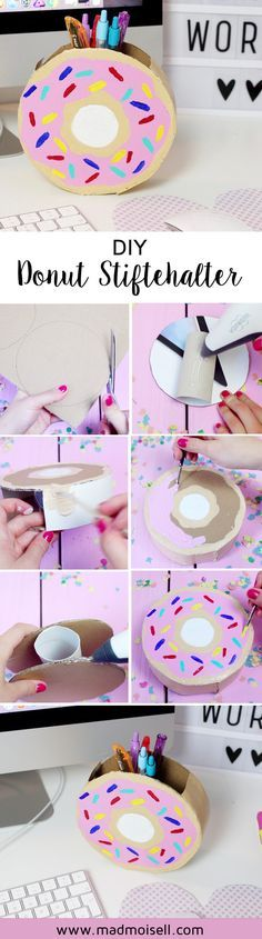 DIY Donut Stiftehalter aus Klopapierrollen selber basteln. Ein DIY Stiftehalter ist im Handumdrehen selbst gemacht und verschönert jeden Schreibtisch. Erfahre hier, wie du Schreibtisch Deko basteln kannst!