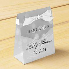 Baby Shower Monogram Silver Bokeh Sparkle Lights Favor Box