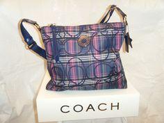 7. Coach Tartan Plaid File Bag PreOwned. Starting at $10 on Tophatter.com! Coach Handbags, Coach Bags, Blue Canvas, Tartan Plaid, Blue And Silver, Diaper Bag, Purple, Leather, Clothes